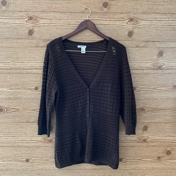 DKNY CROCHET KNIT CARDIGAN BROWN AIZE LARGE